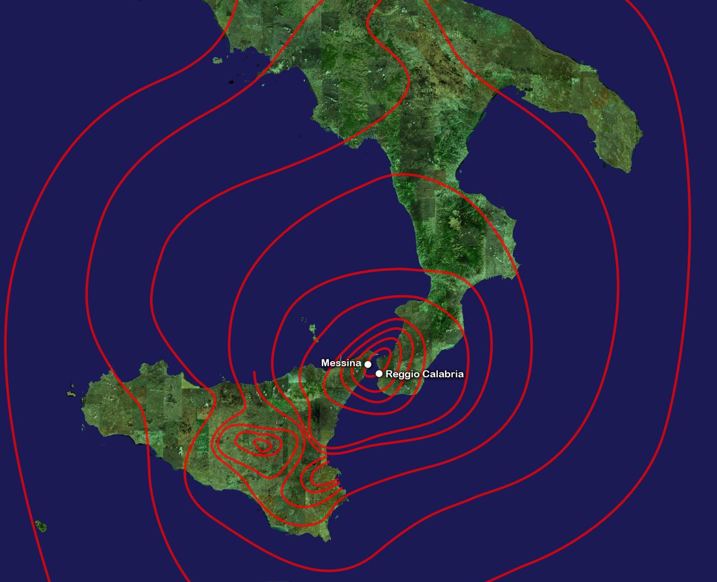Mappa Terremoto di Messina e Reggio Calabria 1908